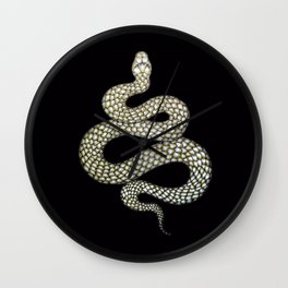 Snake's Charm in Black Wall Clock