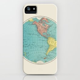 Vintage Scientific Illustration Western Hemisphere World Map In Color iPhone Case