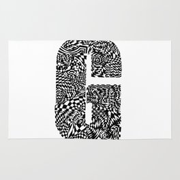 Alphabet Letter G Impact Bold Abstract Pattern (ink drawing) Rug
