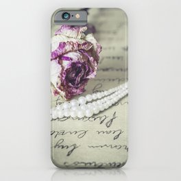 love letter with pearls and rose iPhone Case