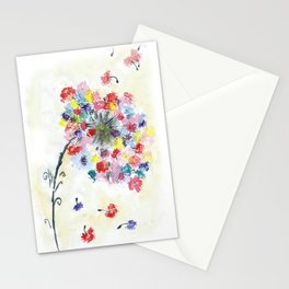 Dandelion watercolor illustration, rainbow colors, summer, free, painting Stationery Cards