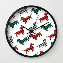 Christmas Dachshunds Red Flannel Wall Clock