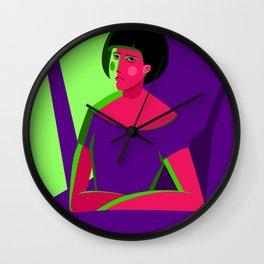 Woman's portrait illustration Wall Clock