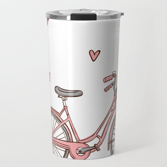 Retro vintage bicycle print with heart shaped balloons Travel Mug