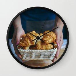 Croissant in a wicker basket Wall Clock