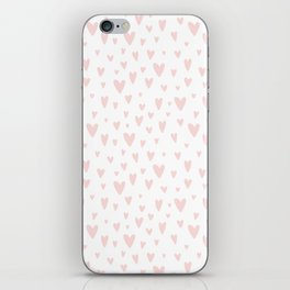 Blush pink white handdrawn watercolor romantic hearts pattern iPhone Skin