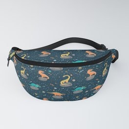Dinosaurs Floating on an Asteroid Fanny Pack