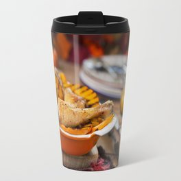II - Oven roasted chicken with grilled pumpkin on a rustic table Travel Mug