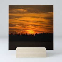 Cloudy Sunset With Forest Line - Scenic Landscape - #society6 #decor #buyart Mini Art Print