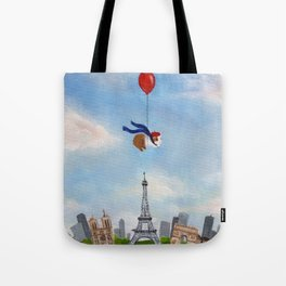 Guinea Pig With Balloon Over Paris, France Tote Bag