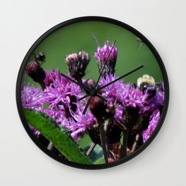 Violet Flowers Bee Photo Photograph 1  Wall Clock