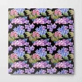 Hydrangea Purple Blue Black Watercolor Pattern Metal Print