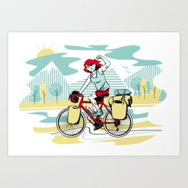 Cycling Girl Art Print