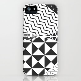 Abstract Geometric Triangle Pattern Black and White iPhone Case