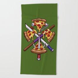 Ninja Pizza Beach Towel