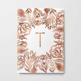 Letter T - Faux Rose Gold Glitter Flowers Metal Print