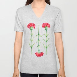 Carnations flowers watercolor art Unisex V-Neck