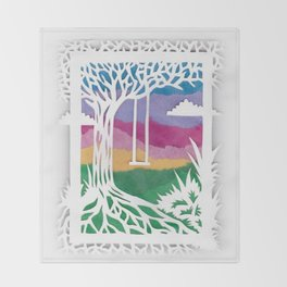 Sunset Swing Papercut Throw Blanket