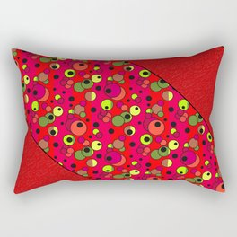 Retro . Colorful red pattern in multi-colored polka dots . Rectangular Pillow
