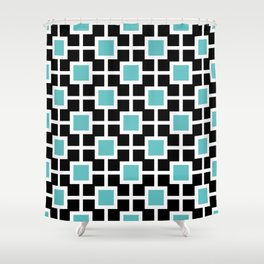 Classic Hollywood Regency Pattern 221 Turquoise and Black Shower Curtain