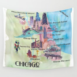 Chicago Favorite Map with touristic Top Ten Highlights in Colorful Retro Style Wall Tapestry