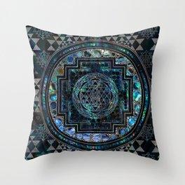Sri Yantra  / Sri Chakra Abalone Shell and Silver Throw Pillow