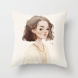 cozy watercolor girl Throw Pillow