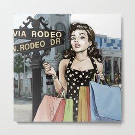 Retro Pinup Girl Shopping on Rodeo Drive Metal Print