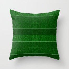 Green Snowflake Stripes Throw Pillow
