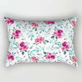 Watercolor fuchsia turquoise hand painted floral Rectangular Pillow