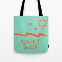crab Tote Bags featuring crab by gzm_guvenc