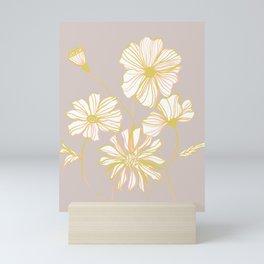 Sadie Line Flowers on Gray Mini Art Print