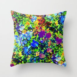 Neon Pansy Garden Throw Pillow