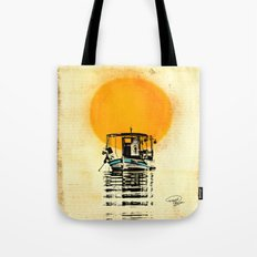 Sunset Boat Silhouette Tote Bag