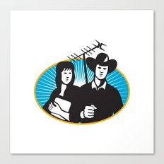 cowboy and girl holding aerial outdoor antennae Canvas Print