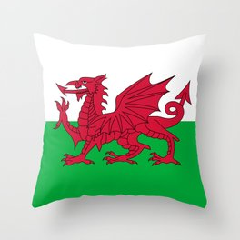 Welsh Flag of Wales Throw Pillow
