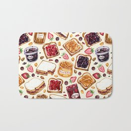 Peanut Butter and Jelly Watercolor Bath Mat