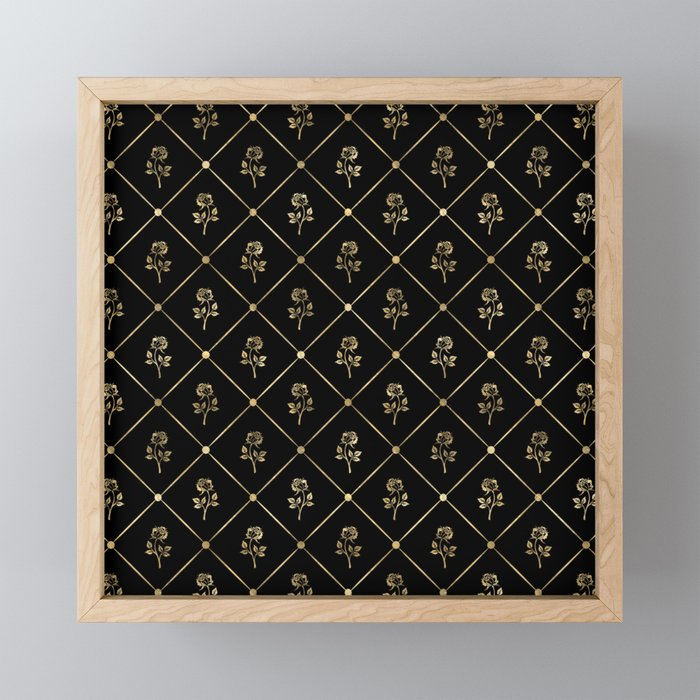 Black & Gold Rose Princess Pattern Framed Mini Art Print