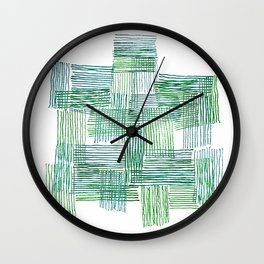 Green and Blue Parallel and Perpendicular Pencil Lines Wall Clock