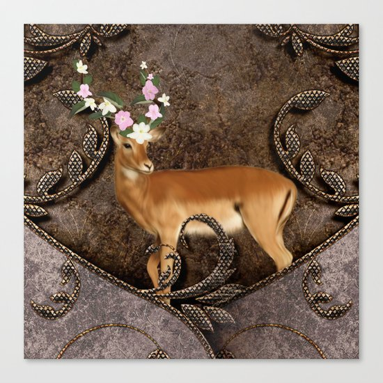 Wonderful antelope with flowers Canvas Print