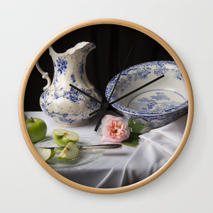 Delft blue china and apples still life Wall Clock