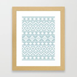 Aztec Essence Ptn III White on Duck Egg Blue Framed Art Print