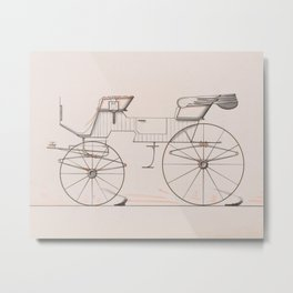 Design for 2 seat Phaeton no.3035a 1874 Brewster Co // Retro Drawing Vehicle Transportation Metal Print