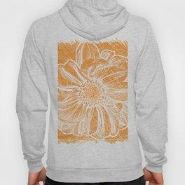 White Flower On Warm Orange Crayon Hoody