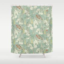 arctic retro Shower Curtain