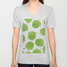 Modern green watercolor polka dots black brushstrokes greenery color of the year pattern Unisex V-Neck