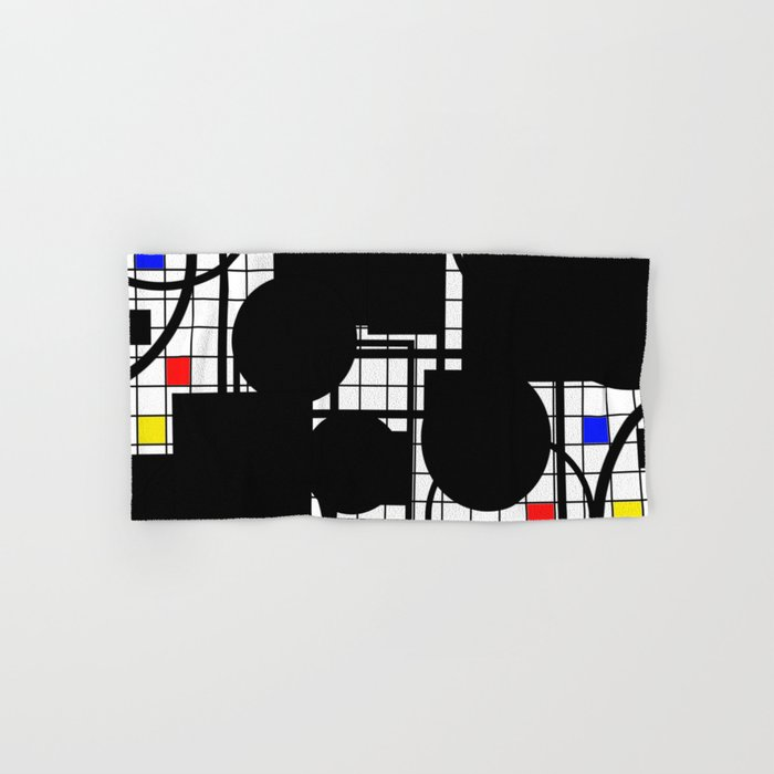 Colour Relationships - Black, white, red, yellow, blue, geometric abstract artwork Hand & Bath Towel