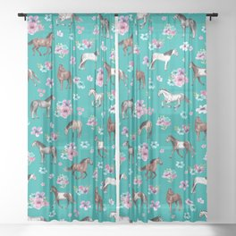 Horse Pattern, Floral Print, Turquoise, Little Girls Room, Horses Sheer Curtain