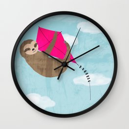 sloth flying kite Wall Clock