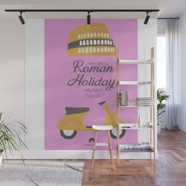 Roman Holiday, Audrey Hepburn,movie poster, Gregory Peck, William Wyler, romantic hollywood film Wall Mural